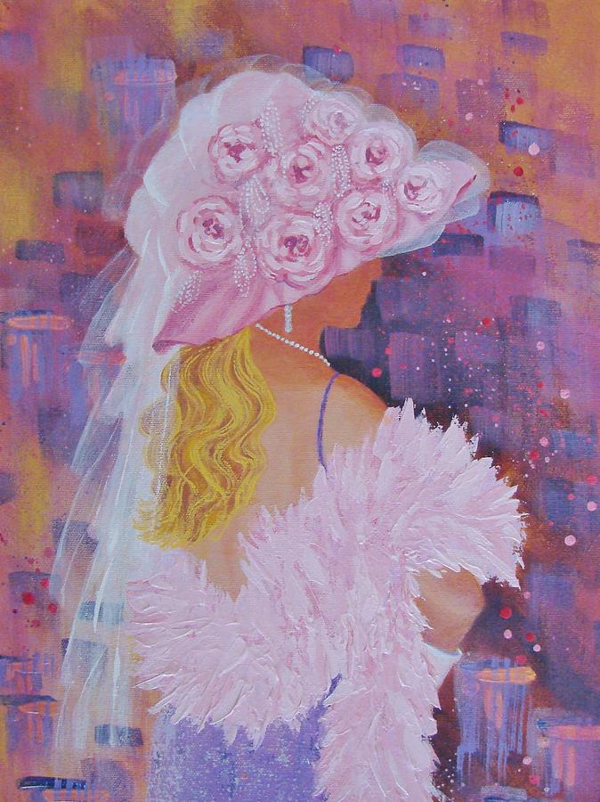 Red Hat Society Painting - Pink Hat Beauty by Margaret Bobb