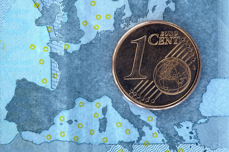 Detail Of A Five Euro Banknote With A One Cent Euro Coin On Top Of It Photograph by Larry Washburn