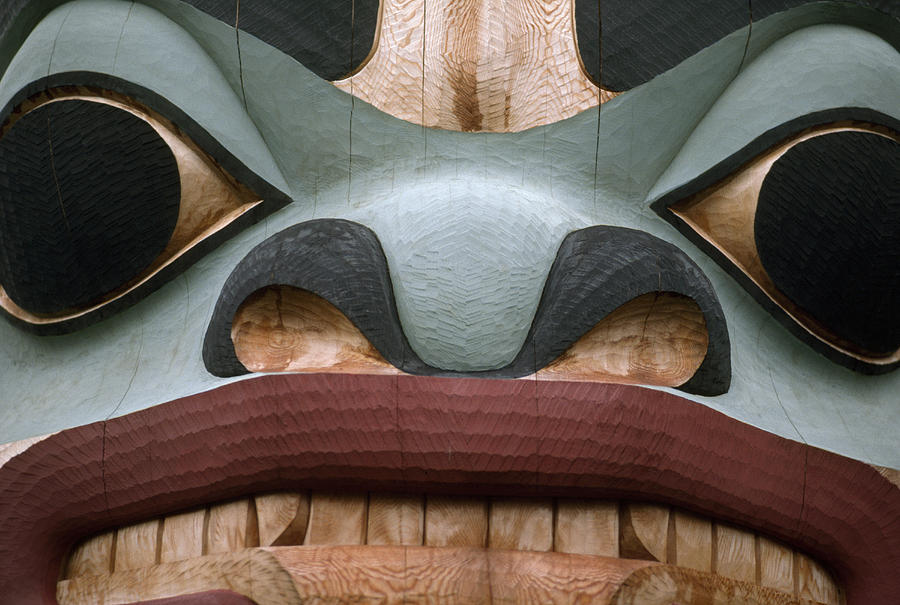 Religion Photograph - Detail Of A Totem Pole by Anne Keiser