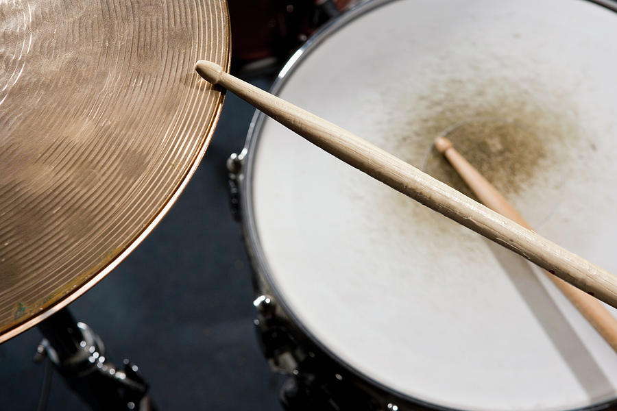 Horizontal Photograph - Detail Of Drumsticks And A Drum Kit by Antenna