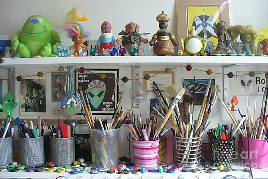 Weird Objects Photo Photograph - Detail Of My Shelves Brooklyn Alien Art by Kristi L Randall