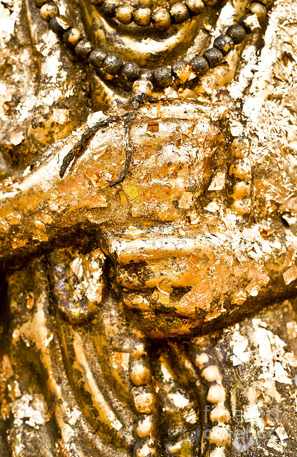 Ancient Photograph - Details Of Golden Buddha Statue by Chavalit Kamolthamanon