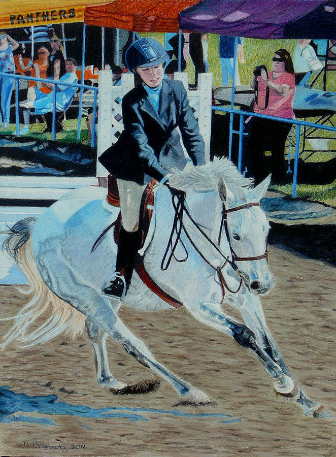 Animal Painting - Determination - Horse and Rider - Horseshow Painting by Patricia Barmatz