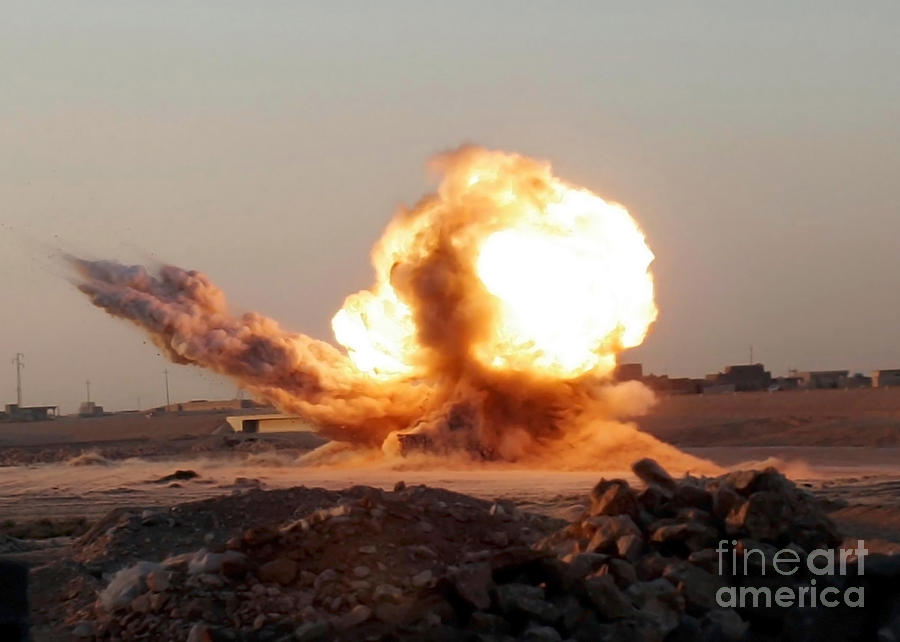 Horizontal Photograph - Detonation Of A Weapons Cache by Stocktrek Images