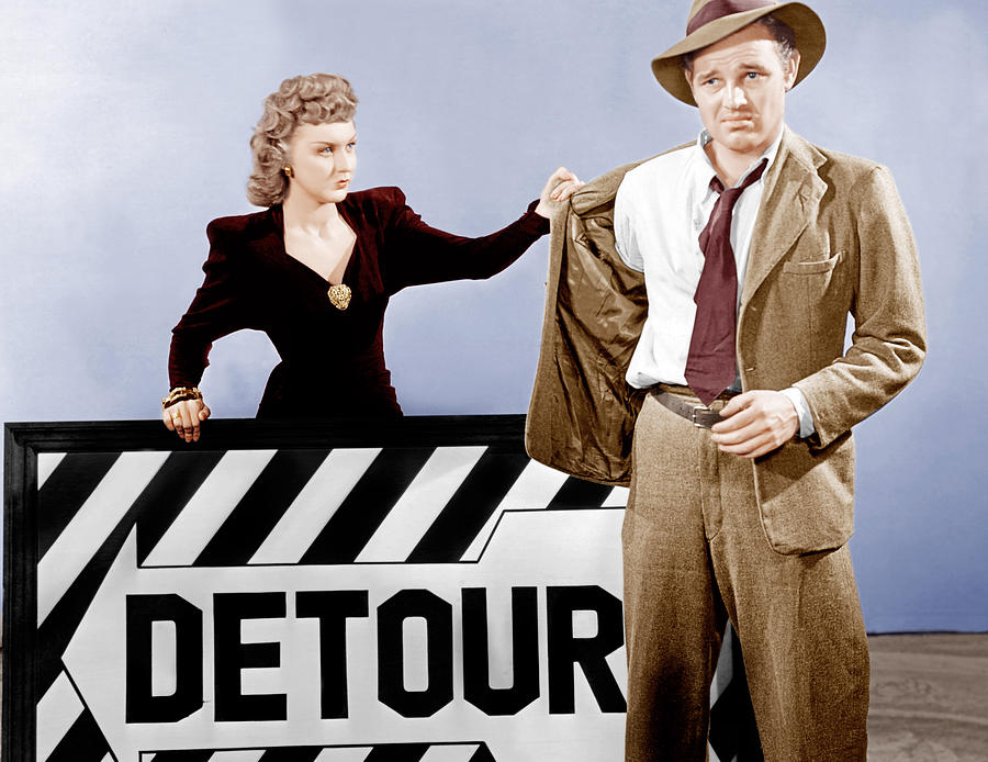 1940s Movies Photograph - Detour, From Left Ann Savage, Tom Neal by Everett