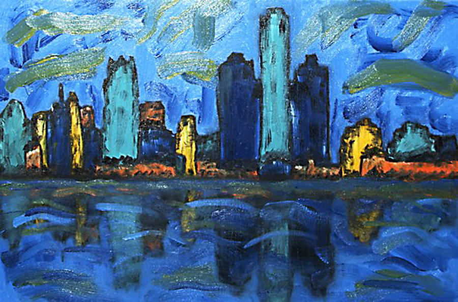 Landscape Painting - Detroit Has A Skyline by SJ Fleck