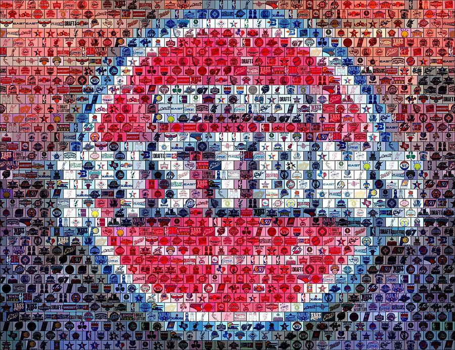 Detroit Pistons Mixed Media - Detroit Pistons Mosaic by Paul Van Scott