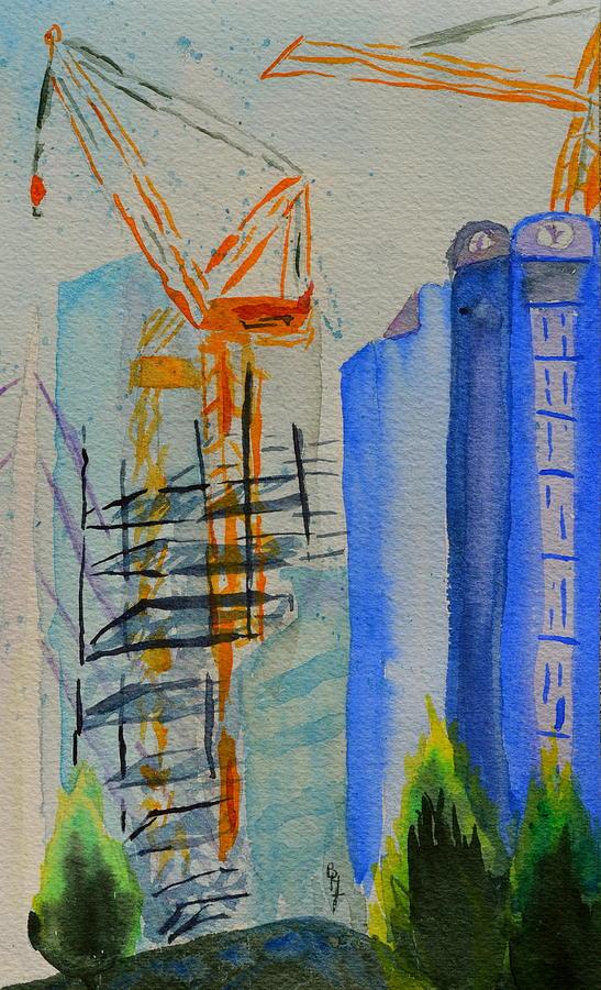 Cranes Painting - Development by Beverley Harper Tinsley