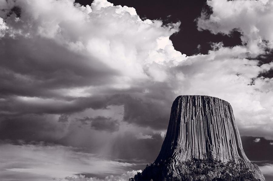 Devils Photograph - Devils Tower Wyoming Bw by Steve Gadomski