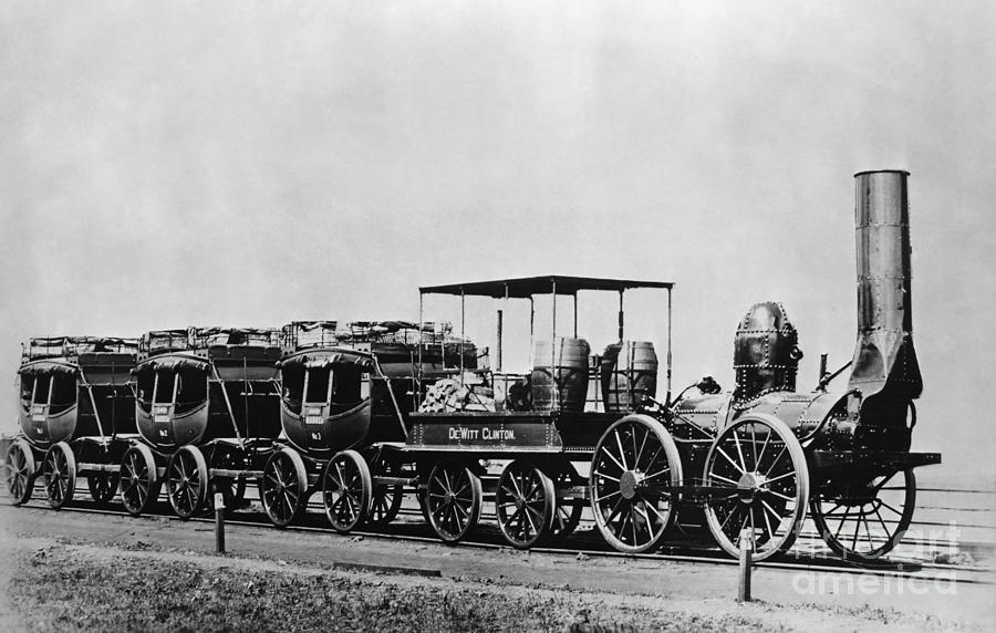 Historic Photograph - Dewitt Clinton Locomotive And Cars by Omikron
