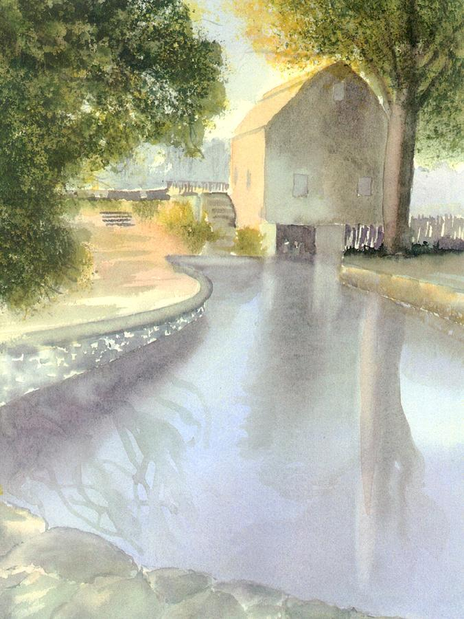 Cape Cod Watercolor Painting - Dexter Grist Mill Reflections by Joseph Gallant
