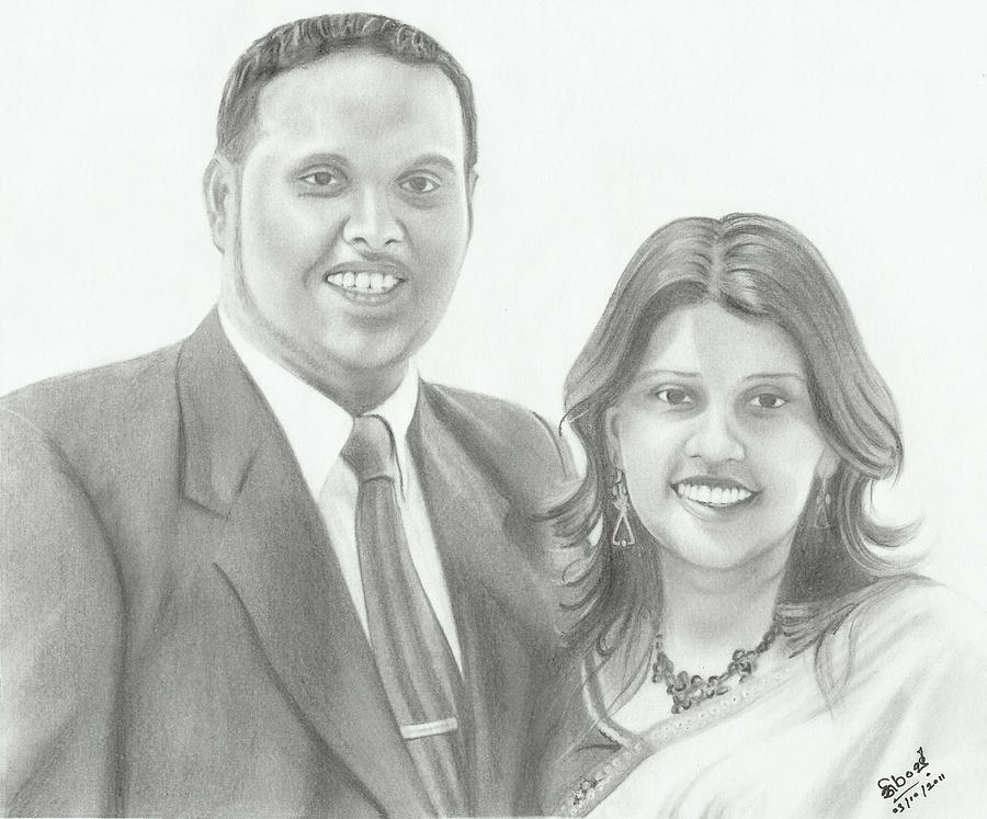 Pencil Drawing Drawing - Dhanushka And Dilrukshi by Niranja Jayasinghe