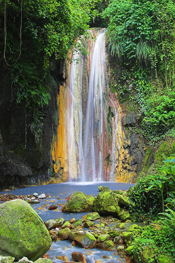 Waterfall Photograph - Diamond Falls- St Lucia by Chester Williams