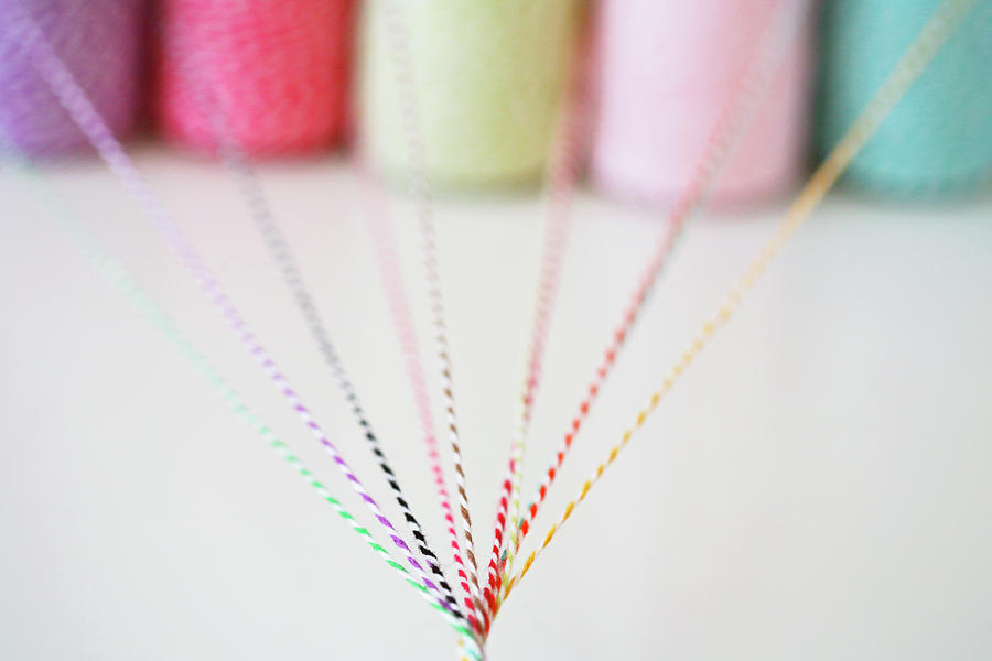 Horizontal Photograph - Different Colored Twine Twisting Together by © Stacey Winters  www.staceywinters.com