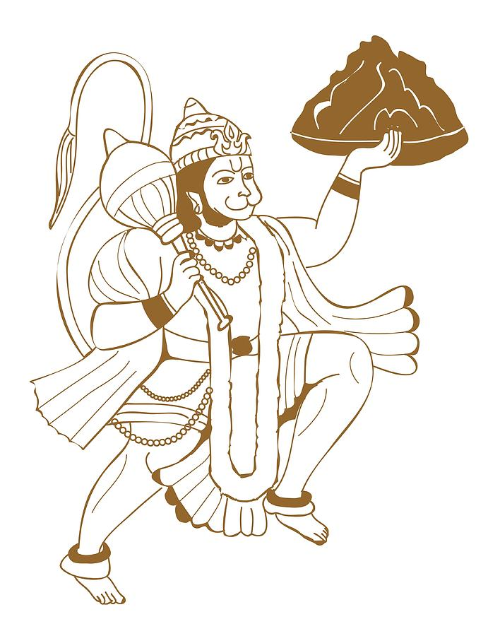 Digital Illustration Of Hanuman Carrying The Mountain