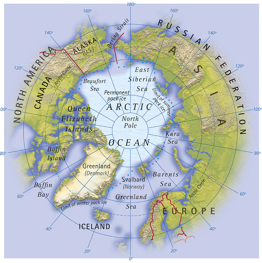 Digital Illustration Of Map Showing Position Of Arctic Ocean And - Map showing continents and oceans