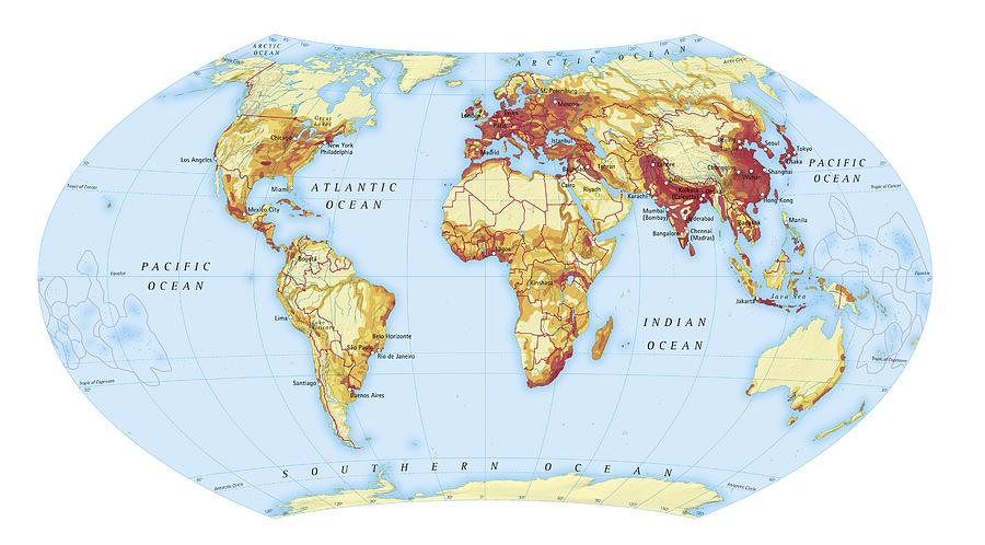 Digital Illustration Of Map Showing World Population Areas Digital Art by Dorling Kindersley