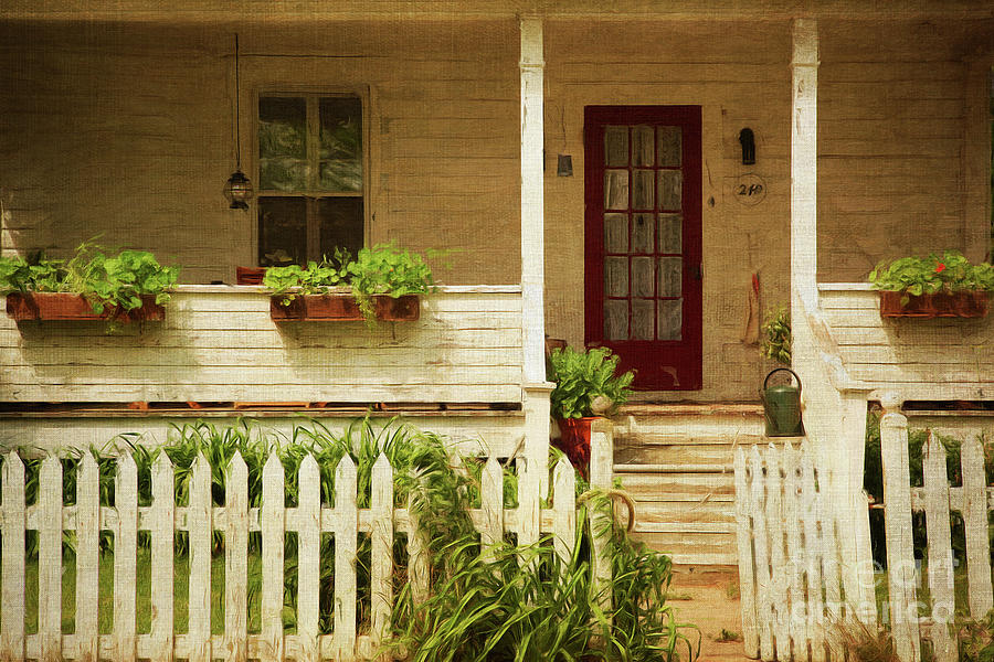 Building Photograph - Digital Painting Of Front Porch Rural Farmhouse by Sandra Cunningham