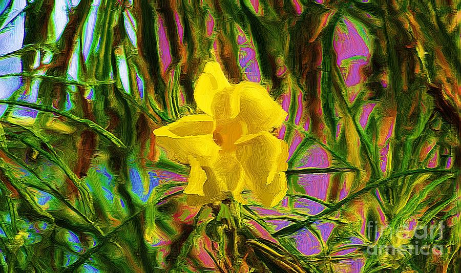 Digital Painting Digital Art - Digital Painting Of Yellow Orchid by John  Kolenberg