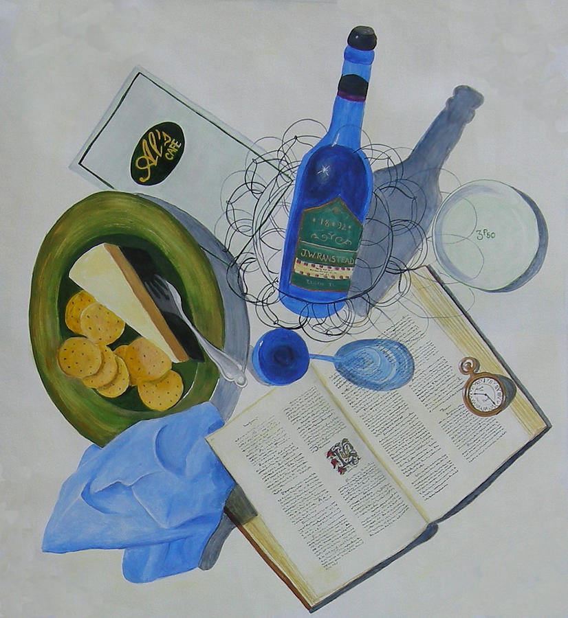 Dining On Words At Als Cafe Painting by L Topel