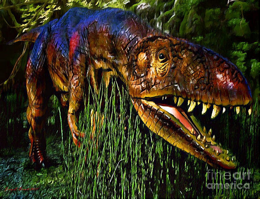 Prehistoric Mixed Media - Dinosaur In Reeds by Jerry L Barrett