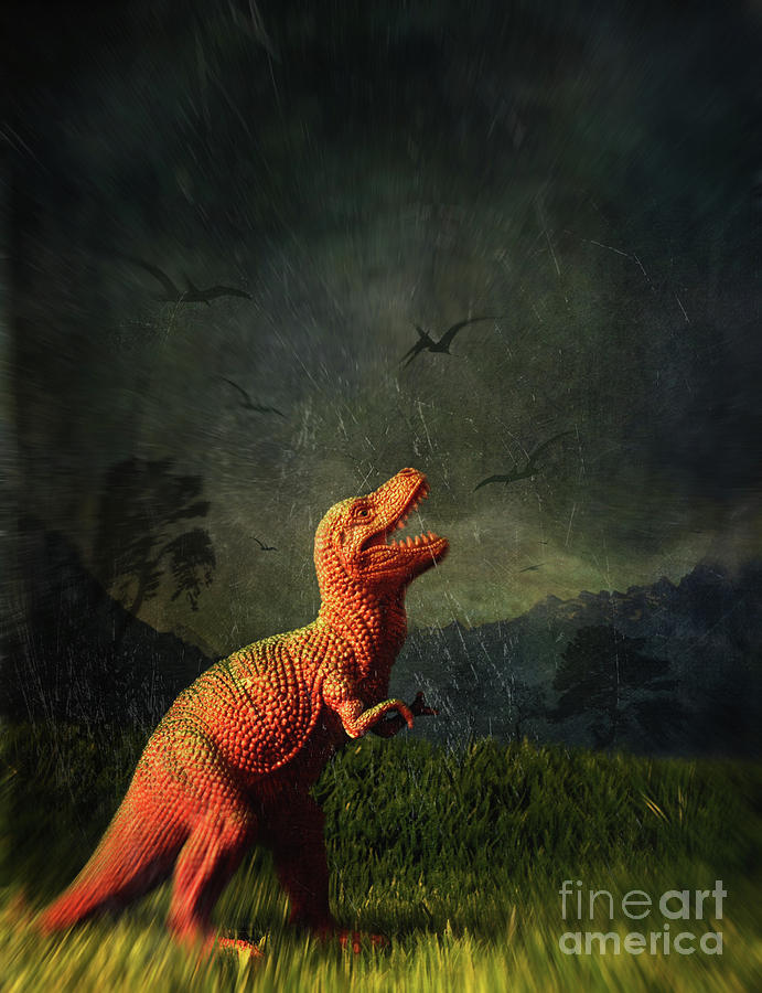 Atmosphere Photograph - Dinosaur Toy Figure In Surreal Landscape by Sandra Cunningham