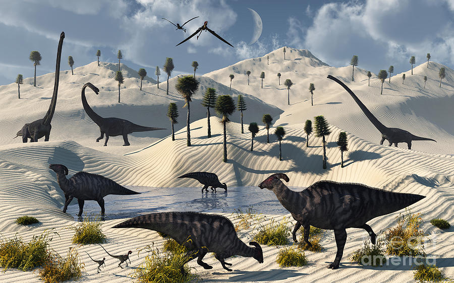 Artwork Digital Art - Dinosaurs Gather At A Life Saving Oasis by Mark Stevenson