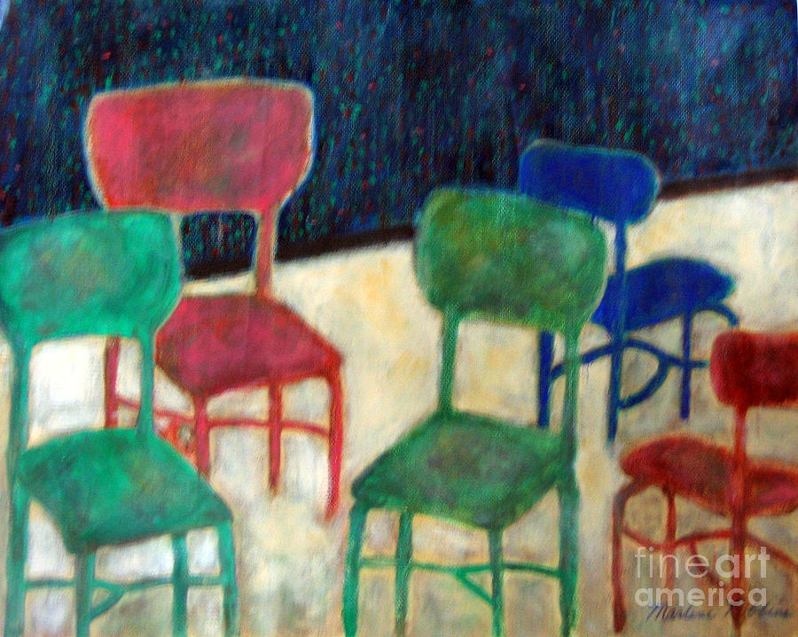 Chairs Painting - Directions by Marlene Robbins