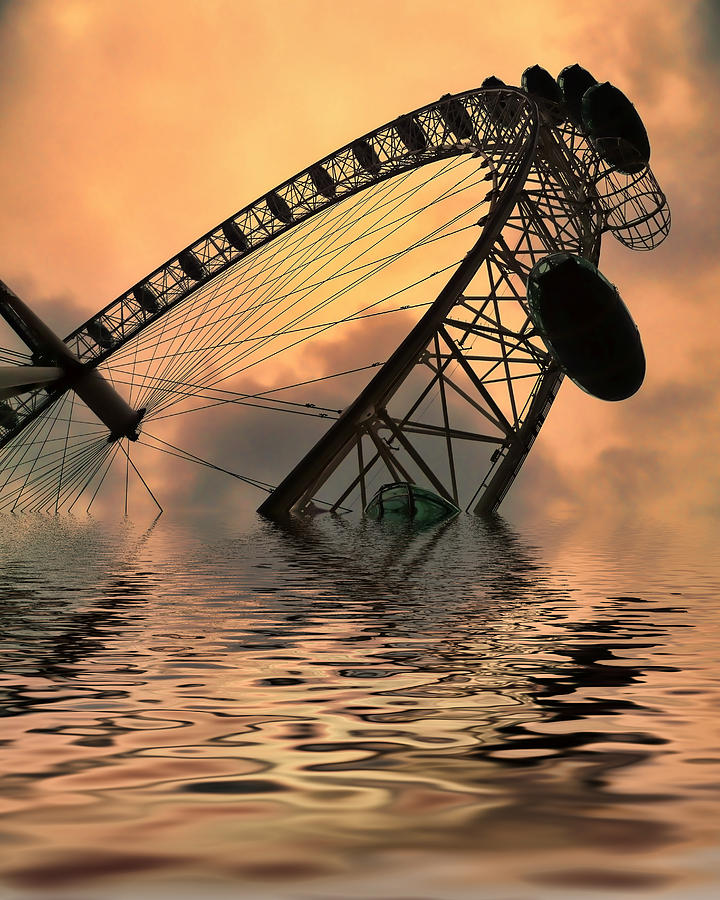 London Eye Photograph - Disaster by Sharon Lisa Clarke