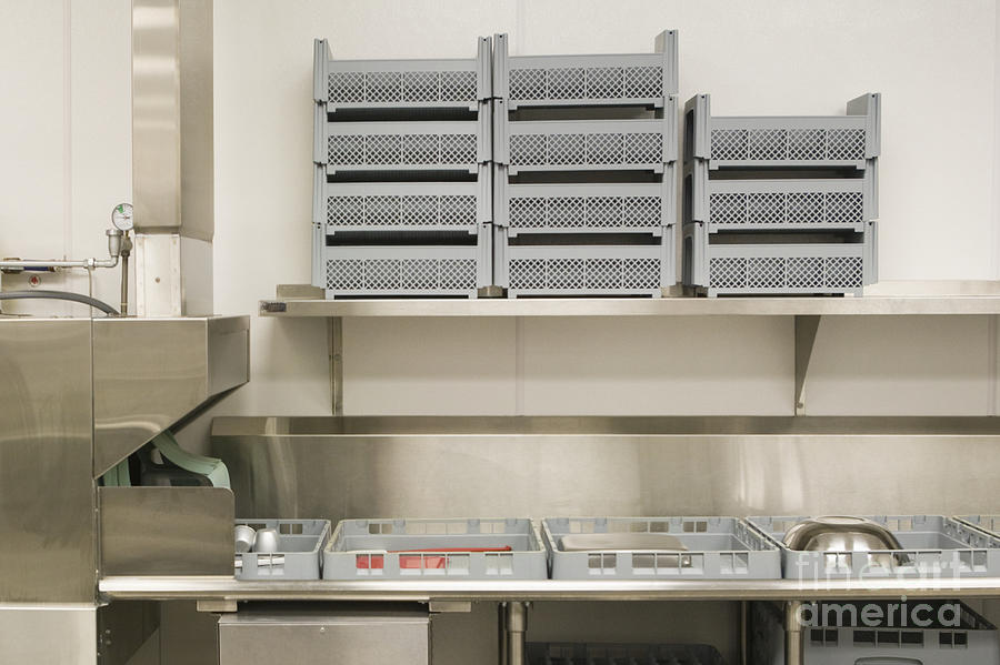 Dish Washing Area In A Commercial Kitchen Photograph By