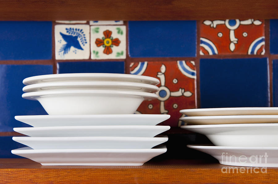 Architectural Detail Photograph - Dishes In Front Of Colorful Tile by Thom Gourley/Flatbread Images, LLC