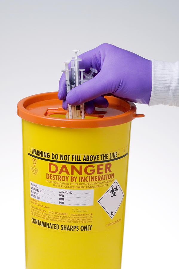 Glove Photograph - Disposal Of Contaminated Sharps by Paul Rapson