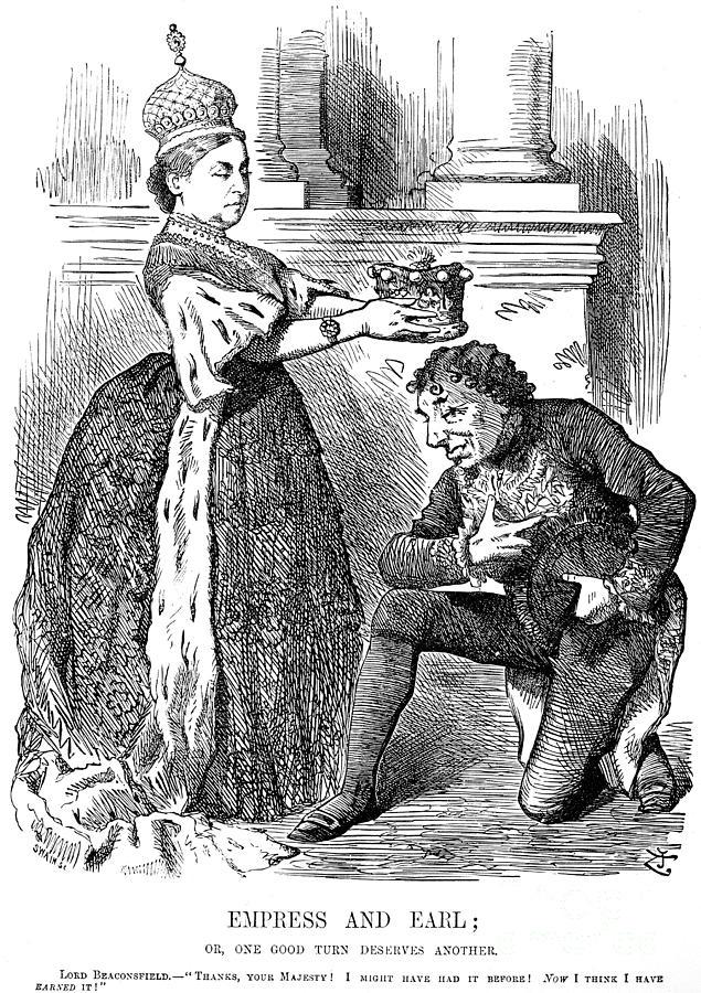 1876 Photograph - Disraeli Cartoon, 1876 by Granger