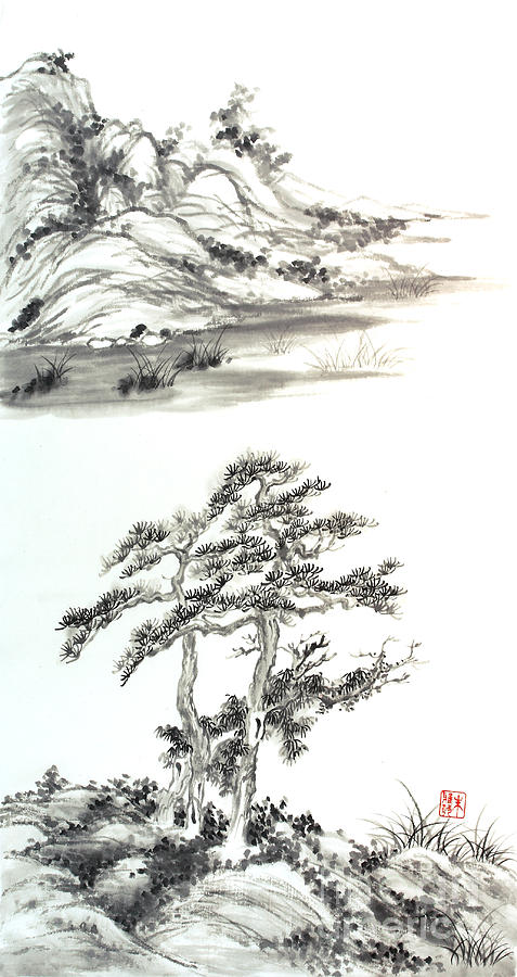 Landscape Painting - Distant Lands by Yolanda Koh