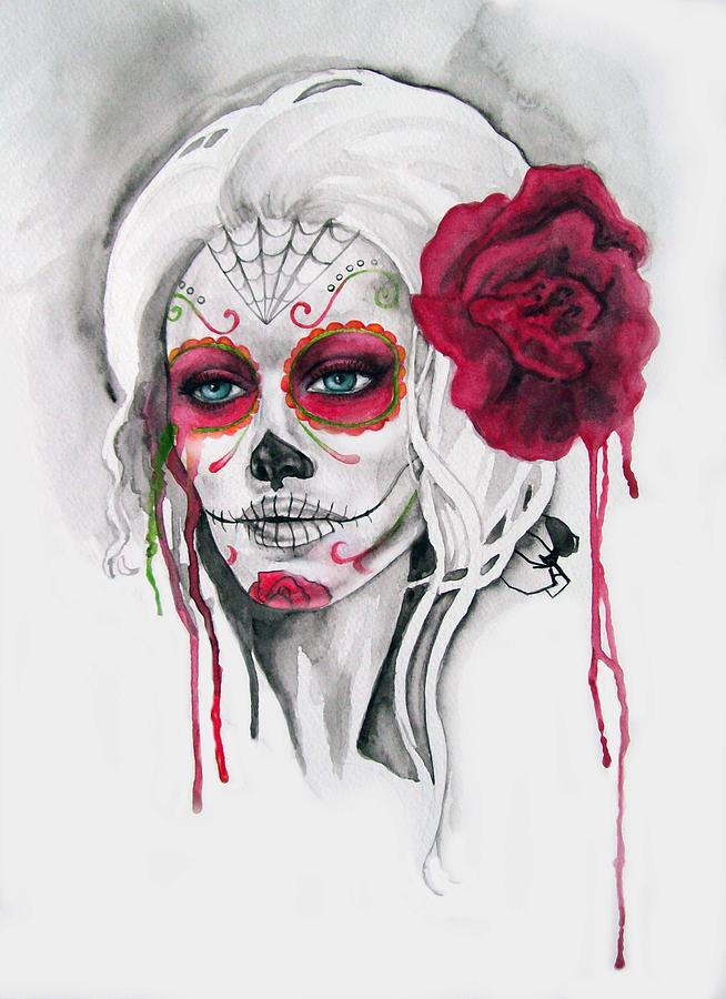 Day Of The Dead Painting - Divine by Diana Shively