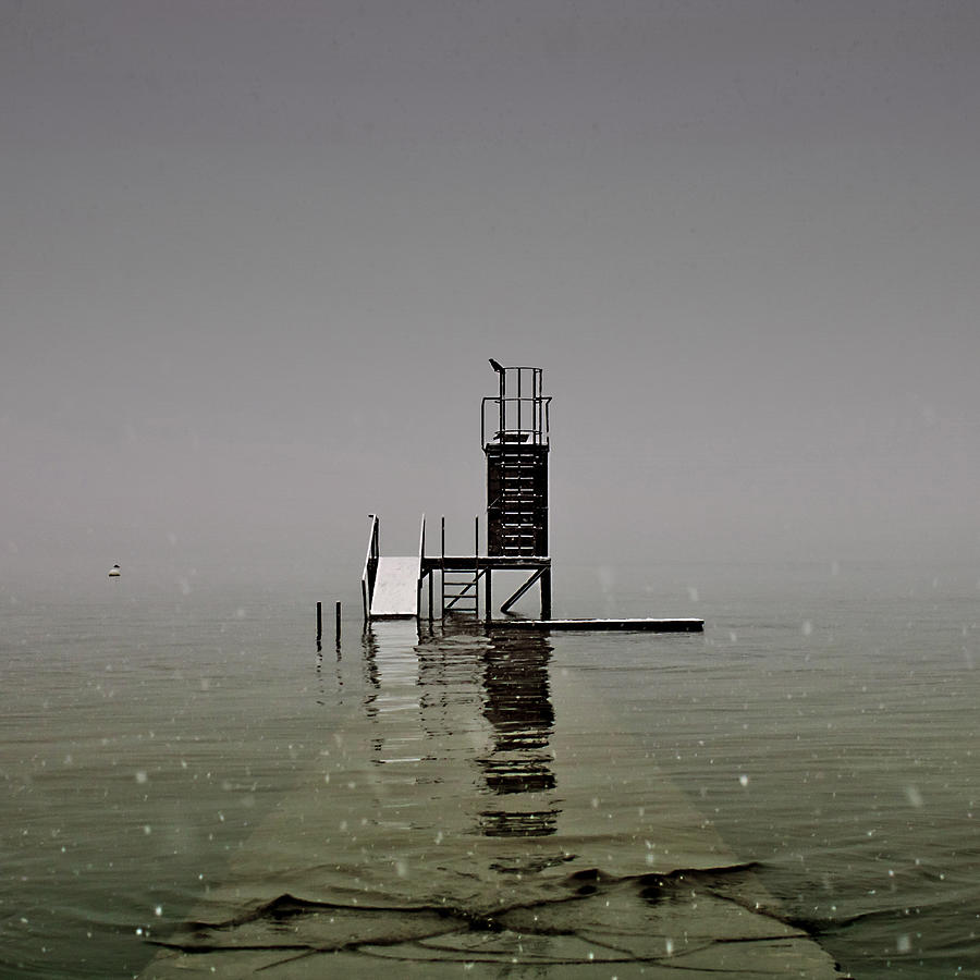 Snow Photograph - Diving Platform by Joana Kruse