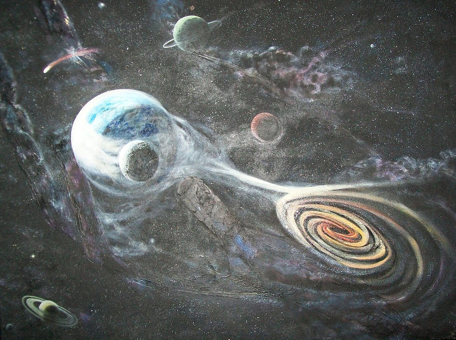 Space Painting - Do You See His Hand? by Connie Sherman
