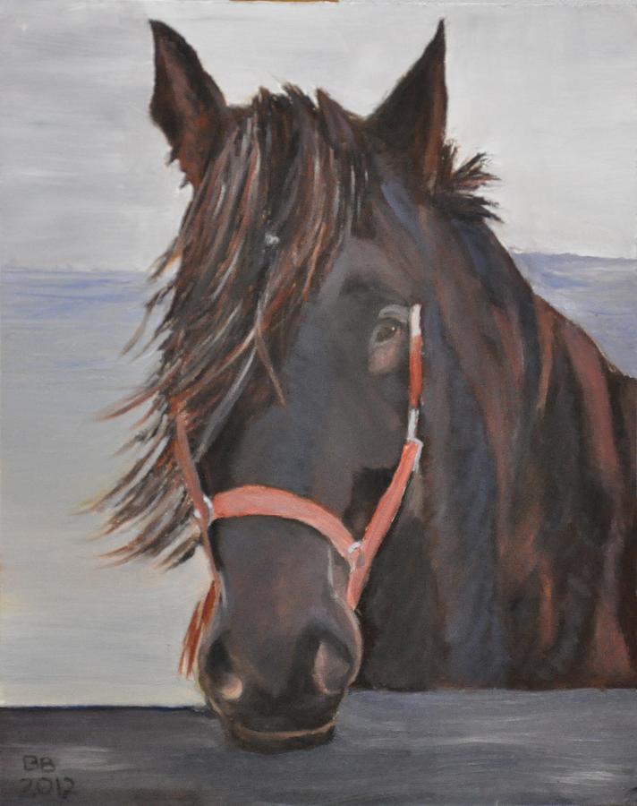 Equestrian Painting - Dobbin The Horse by Barbara Bradbury