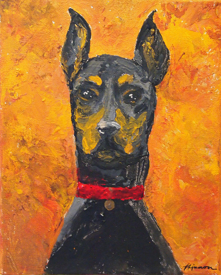 Impasto Painting - Dobie Girl by Veronica Zimmerman