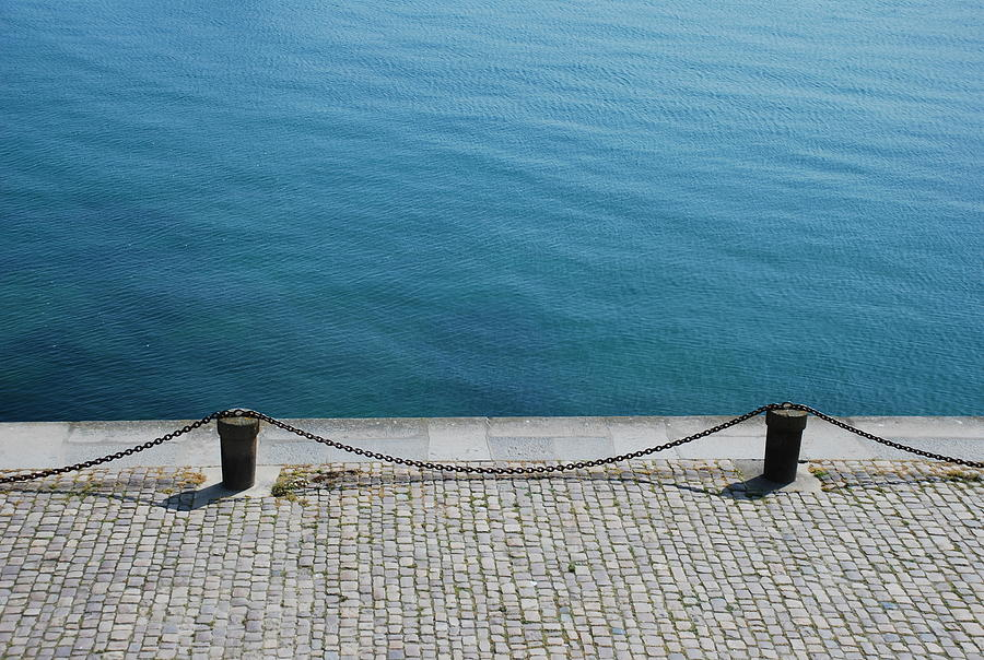 Horizontal Photograph - Dock Chain By Pavement by Photography by Kévin Niglaut