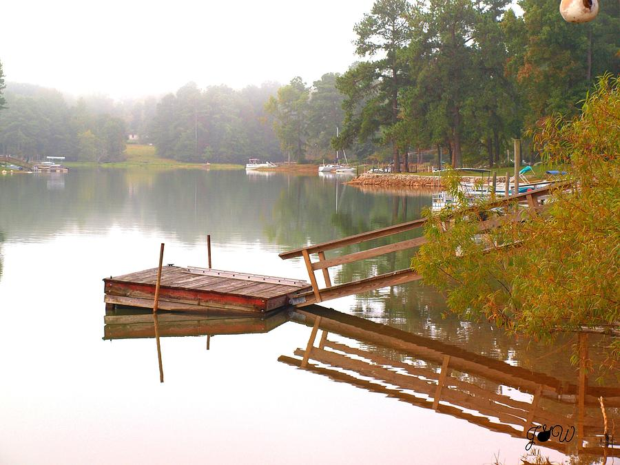 Red Photograph - Dock Reflections by Judy  Waller
