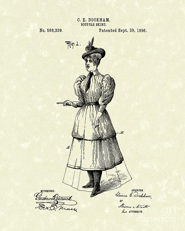 Dockham Drawing - Dockham Bicycle Skirt 1896 Patent Art  by Prior Art Design