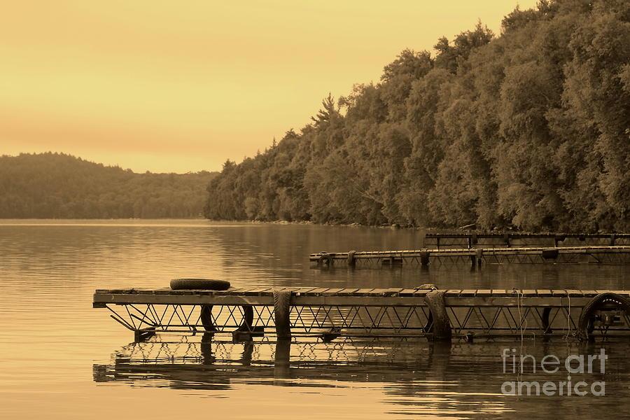 Docks Photograph - Docks In Sepia Wakomata Lake by Marjorie Imbeau