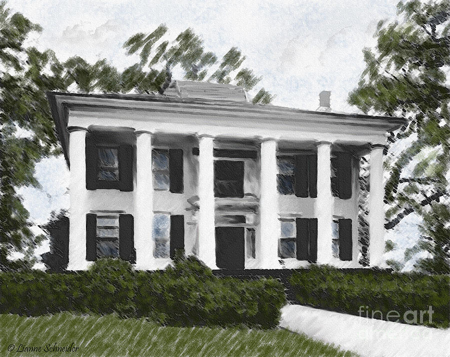 Plantation Digital Art - Dodd House Georgia Plantation by Lianne Schneider