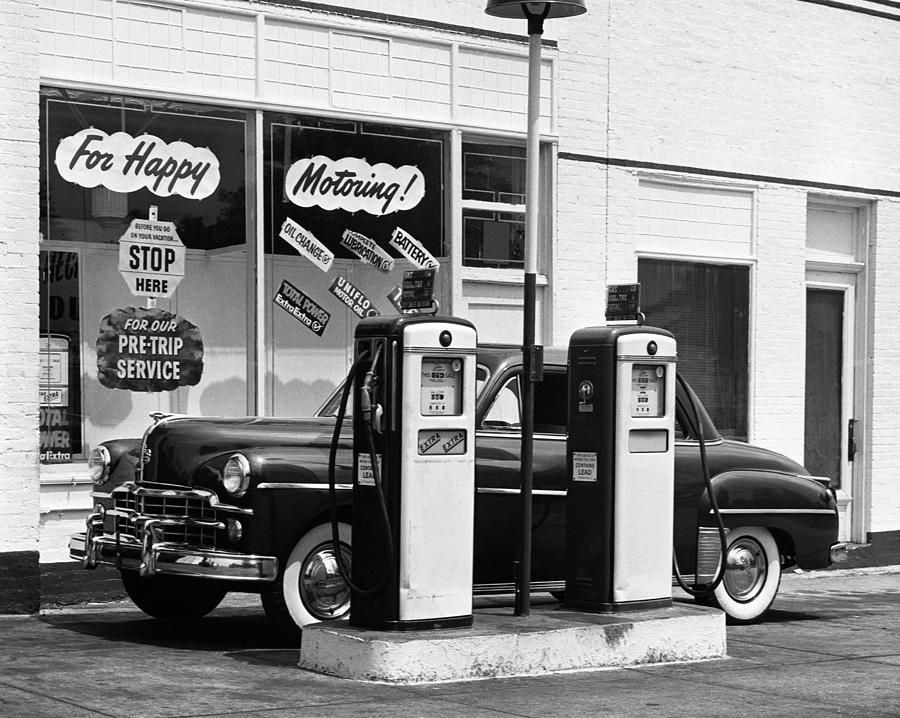 Horizontal Photograph - Dodge In Service Station by George Marks