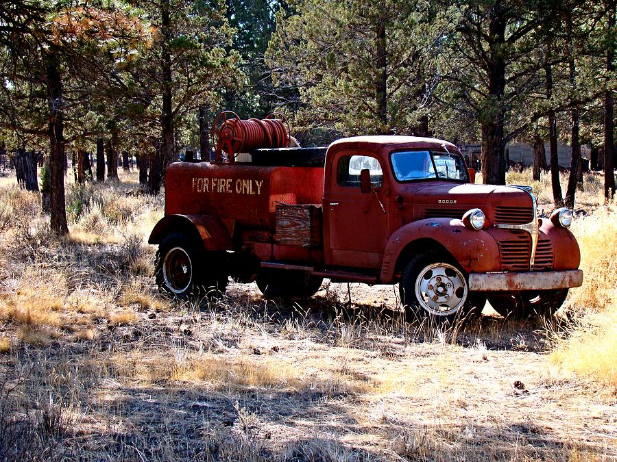 Old Photograph - Logging Fire Truck by Nick Kloepping