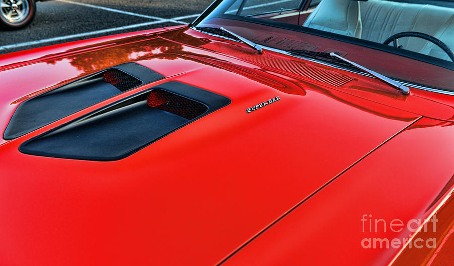 Coronet Photograph - Dodge Super Bee Hood  In Red by Paul Ward