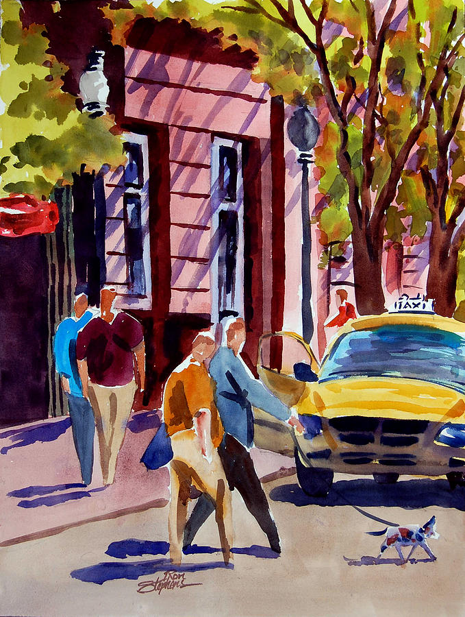 People Painting - Dog Crossing by Ron Stephens