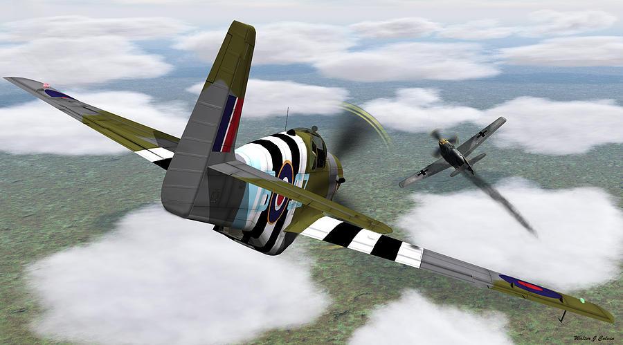 Aircraft Digital Art - Dog fight by Walter Colvin
