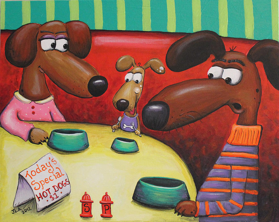 Dogs Painting - Doggie Diner by Jennifer Alvarez